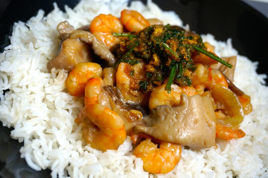 Délice de crevettes aux shiitakés